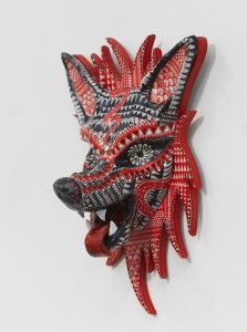 Dennis McNett -  <strong>Seven Direction Wolves (edition 3/7)</strong> (2017<strong style = 'color:#635a27'></strong>)<bR /> epoxy cast forms, wood base, woodcut print, 13 x 8.5 x 5 inches, (33.02 x 21.6 x 12.7 cm) $600
