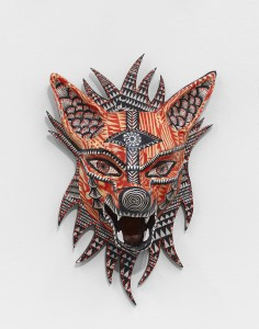 Dennis McNett -  <strong>Seven Direction Wolves (edition 7/7)</strong> (2017<strong style = 'color:#635a27'></strong>)<bR /> epoxy cast forms, wood base, woodcut print, 13 x 8.5 x 5 inches, (33.02 x 21.6 x 12.7 cm) $600