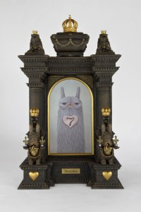 Garry Buckley -  <strong>Theotokos, Mother of the Sacred Heart</strong> (2017<strong style = 'color:#635a27'></strong>)<bR /> acrylic on panel in hand sculpted frame, 20 x 12 x 6 inches