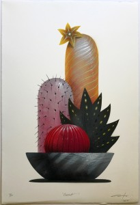 Jeff Soto -  <strong>Cassatt (edition 7/10)</strong> (2017<strong style = 'color:#635a27'></strong>)<bR /> Stencil print hand embellished with spray paint, acrylic and colored pencil on archival Arches paper, 22 x 15 inches, (55.9 x 38.1 cm) $300