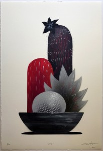 Jeff Soto -  <strong>Dix (edition 3/10)</strong> (2017<strong style = 'color:#635a27'></strong>)<bR /> Stencil print hand embellished with spray paint, acrylic and colored pencil on archival Arches paper, 22 x 15 inches, (55.9 x 38.1 cm) $300