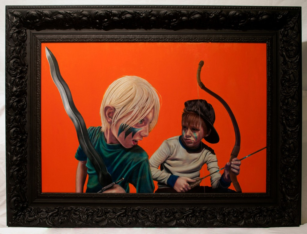 Jeremy Burks -  <strong>Savage Lands XVII (Finn and Elliot)</strong> (2014<strong style = 'color:#635a27'></strong>)<bR /> varnished colored pencil and enamel on birch panel, 24 x 36 inches (framed: 32 x 44 inches), $5,000