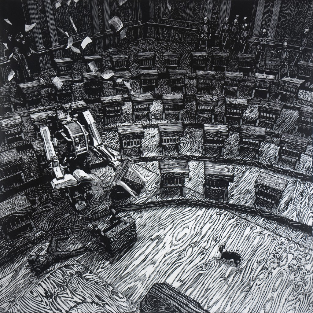John Jacobsmeyer -  <strong>Senate Camera 1 (edition of 15)</strong> (2015<strong style = 'color:#635a27'></strong>)<bR /> Woodcut on Gampi, 28 x 28 inches,  (71.1 x 71.1 cm) $750