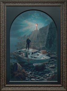 Josh Tiessen (First Place Winner) -  <strong>Dark Night of the Soul</strong> (2016<strong style = 'color:#635a27'></strong>)<bR /> oil on baltic birch, 44 x 34 inches (framed), $16,500