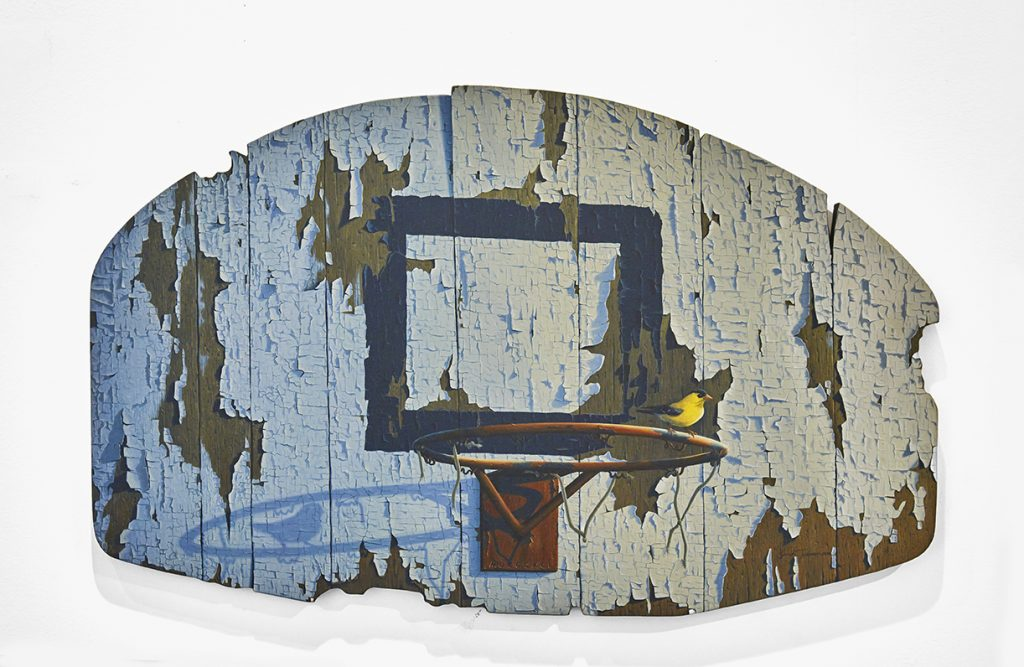 Josh Tiessen -  <strong>Defending The Paint</strong> (2014<strong style = 'color:#635a27'></strong>)<bR /> oil on braced baltic birch, 20 x 32 inches, $9,500