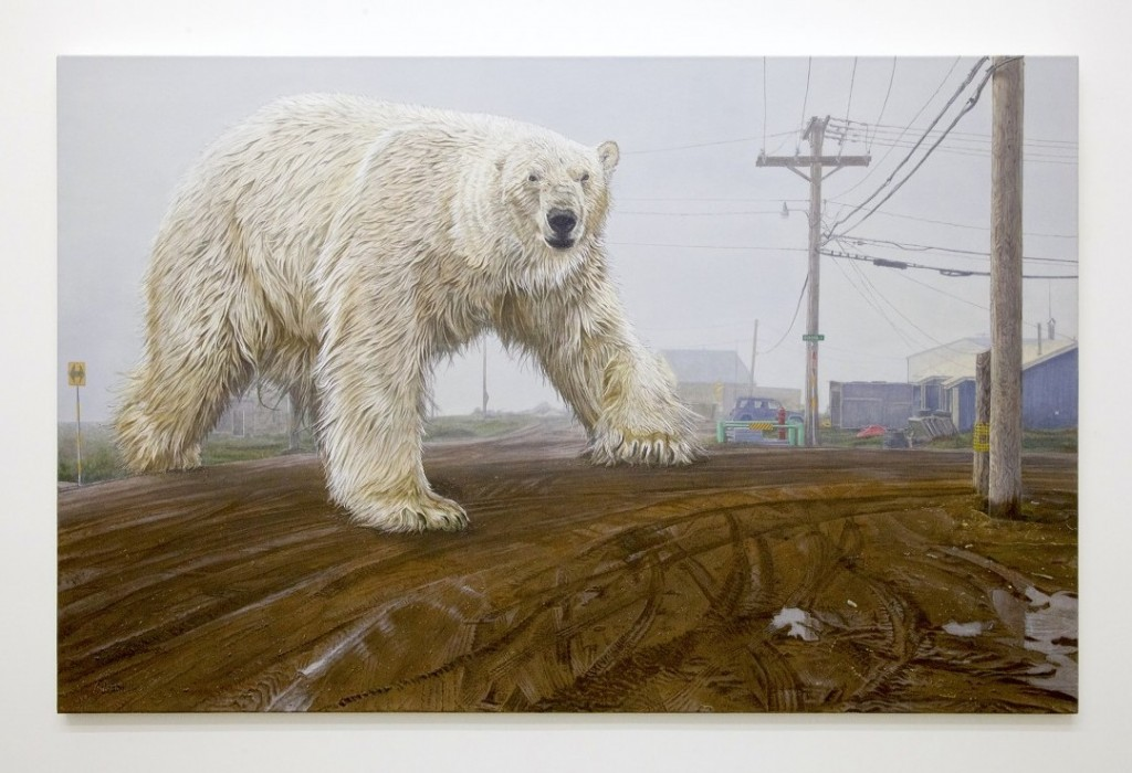 Austin Parkhill -  <strong>Ursus Maritimus Enormis</strong> (2015<strong style = 'color:#635a27'></strong>)<bR /> acrylic on canvas, 54 x 84 inches