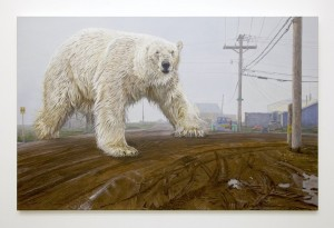 Austin Parkhill -  <strong>Ursus Maritimus Enormis</strong> (2015<strong style = 'color:#635a27'></strong>)<bR /> acrylic on canvas, 54 x 84 inches, $19,000