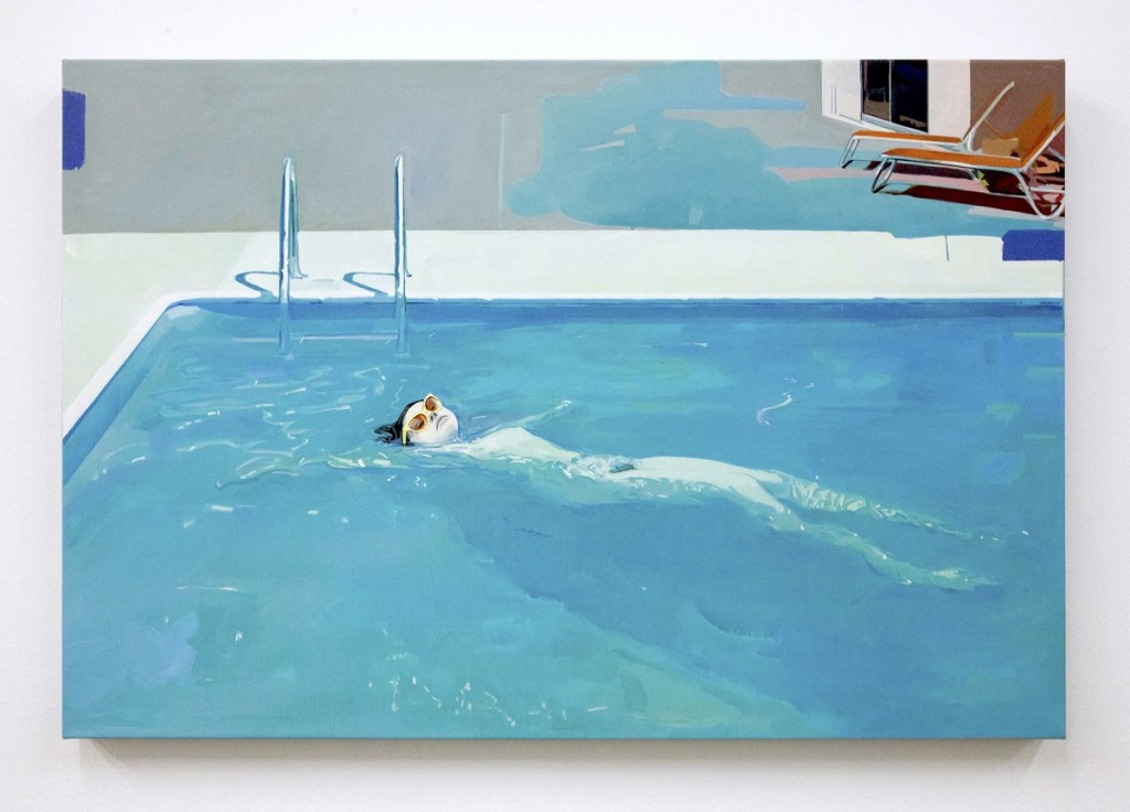 Jim Salvati -  <strong>Floating Nude</strong> (2016<strong style = 'color:#635a27'></strong>)<bR /> oil on canvas, 35 x 55 inches