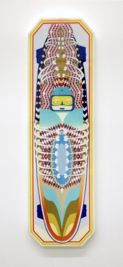 Adam Crawford -  <strong>Ghost Board</strong> (2017<strong style = 'color:#635a27'></strong>)<bR /> acrylic, paint, paper, foam, fibre glass, resin, 46 x 13 x 2 inches