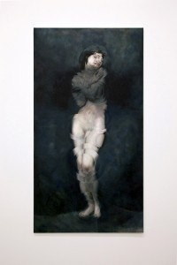 Masha Gusova -  <strong>Eve</strong> (2017<strong style = 'color:#635a27'></strong>)<bR /> oil on canvas, 59 x 32 inches, $5,500