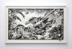 Jim Woodring (Honorable Mention) -  <strong>The Pig Went Down To The Harbor At Sunrise and Wept #2 </strong> (2017<strong style = 'color:#635a27'></strong>)<bR /> graphite and acrylic on strathmore drawing paper, 36 x 64 inches, $10,000
