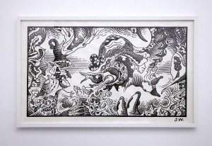 Jim Woodring (Honorable Mention) -  <strong>The Pig Went Down to the Harbor at Sunrise and Wept # 8</strong> (2016<strong style = 'color:#635a27'></strong>)<bR /> graphite and acrylic on strathmore drawing paper, 36 x 64 inches