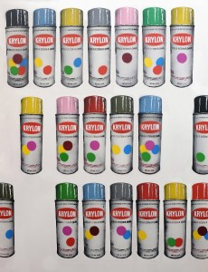 Nick Walker -  <strong>Krylon Cans (editions of 50)</strong> (2017<strong style = 'color:#635a27'></strong>)<bR /> 12 color separation silkscreen, 34 x 26 inches, (86.3 x 66 cm) $550