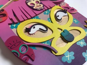Risa Tochigi (boogieREZ) -  <strong>Lucha Chick (detail)</strong> (2017<strong style = 'color:#635a27'></strong>)<bR /> acrylic on hand cut birth wood, 35 x 19 x 2 inches