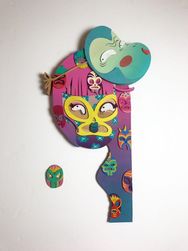 Risa Tochigi (boogieREZ) -  <strong>Lucha Chick</strong> (2017<strong style = 'color:#635a27'></strong>)<bR /> acrylic on hand cut birth wood, 35 x 19 x 2 inches, $3,888