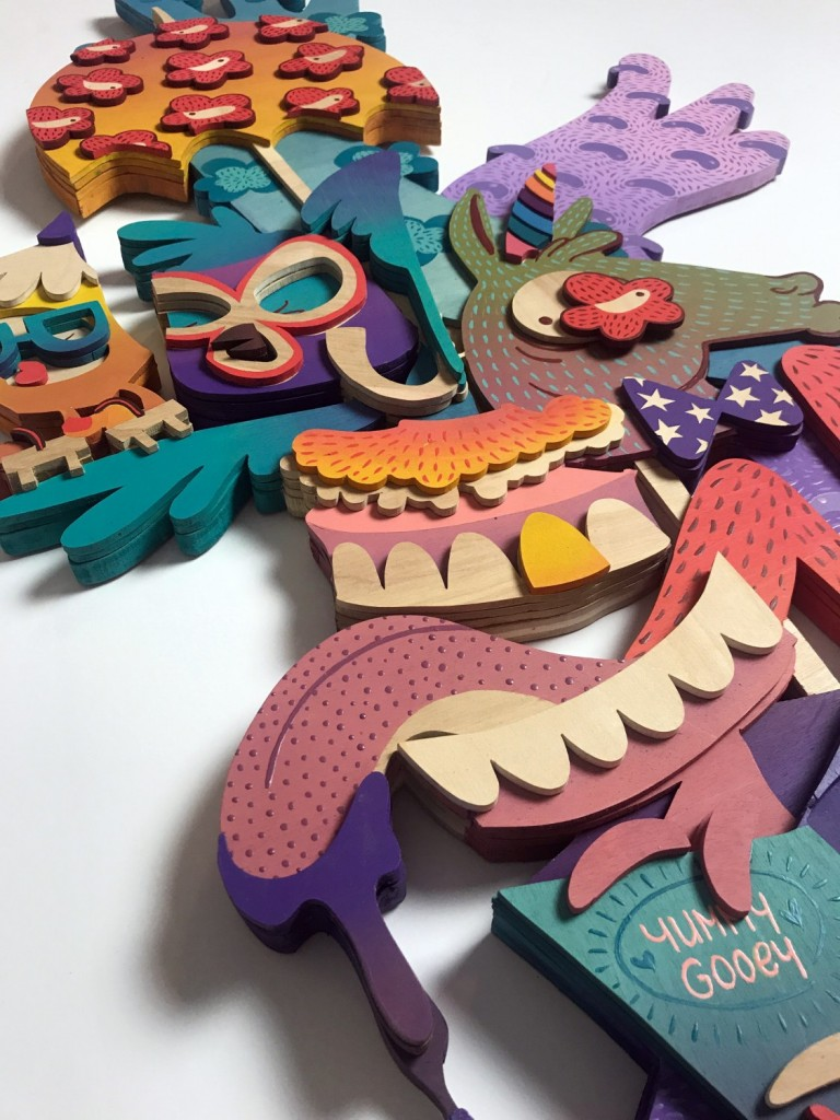 Risa Tochigi (boogieREZ) -  <strong>The Optimistic Rebel II(detail)</strong> (2017<strong style = 'color:#635a27'></strong>)<bR /> acrylic on hand cut birth wood, 45 x 24 x 2 inches