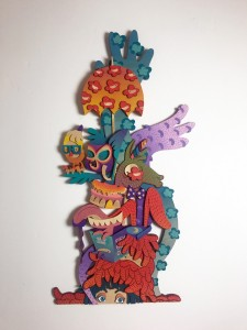 Risa Tochigi (boogieREZ) -  <strong>The Optimistic Rebel II</strong> (2017<strong style = 'color:#635a27'></strong>)<bR /> acrylic on hand cut birth wood, 45 x 24 x 2 inches, $4,888