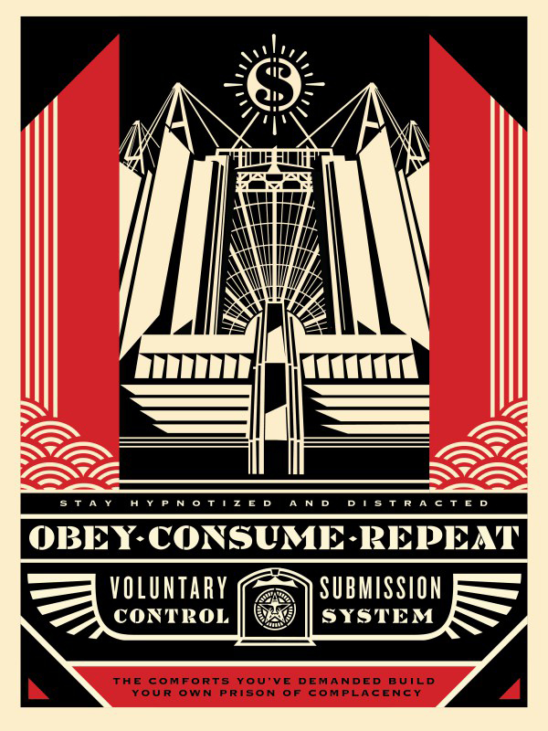 Shepard Fairey -  <strong>Church of Consumption (OBEY Consume Repeat) ) (Artist Proof of sold out edition of 450)</strong> (2017<strong style = 'color:#635a27'></strong>)<bR /> screen print, 24 x 18 inches,  (60.9 x 45.7 cm) $250