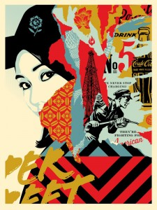Shepard Fairey -  <strong>Drink Crude Oil (Artist Proof of sold out edition of 450)</strong> (2017<strong style = 'color:#635a27'></strong>)<bR /> screen print, 24 x 18 inches,  (60.9 x 45.7 cm)