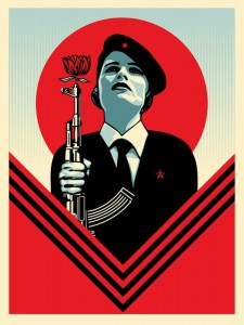 Shepard Fairey -  <strong>Peace Guard 2 (Artist Proof of sold out edition of 450)</strong> (2016<strong style = 'color:#635a27'></strong>)<bR /> screen print, 24 x 18 inches,  (60.9 x 45.7 cm)