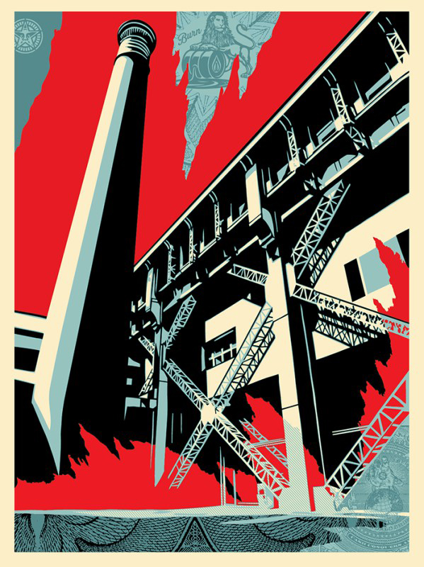 Shepard Fairey -  <strong>Fossil Factory (Artist Proof of sold out edition of 450)</strong> (2017<strong style = 'color:#635a27'></strong>)<bR /> screen print, 24 x 18 inches,  (60.9 x 45.7 cm) $250