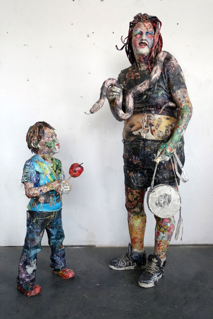 Will Kurtz -  <strong>Adam and Eve at Coney Island</strong> (2016<strong style = 'color:#635a27'></strong>)<bR /> wood, wire, plaster, newspaper, tape, glue and varnish, 66 x 30 x 50 inches