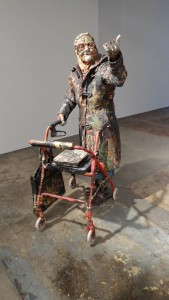 Will Kurtz -  <strong>Nettie</strong> (2015<strong style = 'color:#635a27'></strong>)<bR /> wood, wire, newspaper, tape, glue and varnish, 58 x 31 x 30 inches