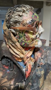 Will Kurtz -  <strong>Nettie (detail)</strong> (2015<strong style = 'color:#635a27'></strong>)<bR /> wood, wire, newspaper, tape, glue and varnish, 58 x 31 x 30 inches