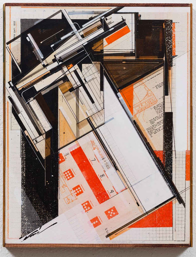 Augustine Kofie -  <strong>Compact Test</strong> (2017<strong style = 'color:#635a27'></strong>)<bR /> Found paper, acrylic, screen-print, ball point pen, graphite and white-out on cradled birch panel.  Sealed in archival matte varnish. Finished in satin varnish.  Framed by artist with mahogany stained pine and found yardsticks. 14 x 18 x 1.75 inches $1,500