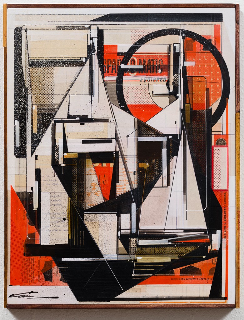 Augustine Kofie -  <strong>Sparc-o-matic</strong> (2017<strong style = 'color:#635a27'></strong>)<bR /> Found paper, acrylic, screen-print, ball point pen, graphite and white-out on cradled birch panel.  Sealed in archival matte varnish. Finished in satin varnish.  Framed by artist with mahogany stained pine and found yardsticks. 14 x 18 x 1.75 inches $1,500