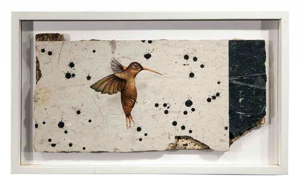 Dan Witz -  <strong>Hummingbird (Linoleum)</strong> (2017<strong style = 'color:#635a27'></strong>)<bR /> oil and mixed media on linoleum, 9 x 14 inches, (22.9 x 35.6 cm) $2,000