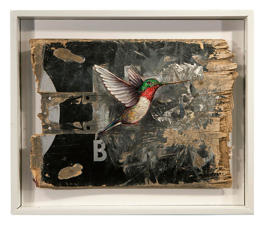 Dan Witz -  <strong>Hummingbird (Skate Deck)</strong> (2017<strong style = 'color:#635a27'></strong>)<bR /> oil and mixed media on canvas, 11 x 13 inches, (27.9 x 33 cm) $2,000