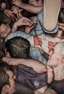 Dan Witz -  <strong>Scrum IV (Microphone)</strong> (2016<strong style = 'color:#635a27'></strong>)<bR /> oil on canvas 32 x 22 inches,  $14,000