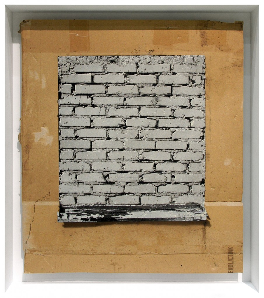 EVOL -  <strong>Broken Window (Praxis)</strong> (2015<strong style = 'color:#635a27'></strong>)<bR /> spraypaint on cardboard, 24.4 x 21.2 inches, (62 x 54 cm)