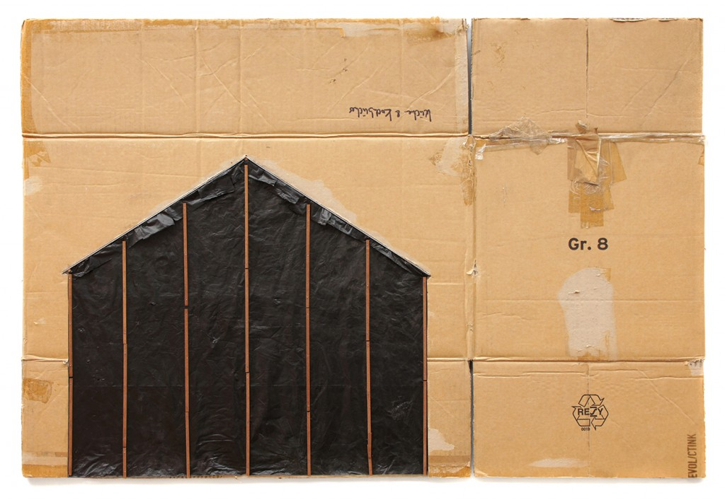EVOL -  <strong>Undercover</strong> (2015 <strong style = 'color:#635a27'></strong>)<bR /> spraypaint and mixed media on cardboard, 29.9 x 44.1 inches, (76 x 112 cm)