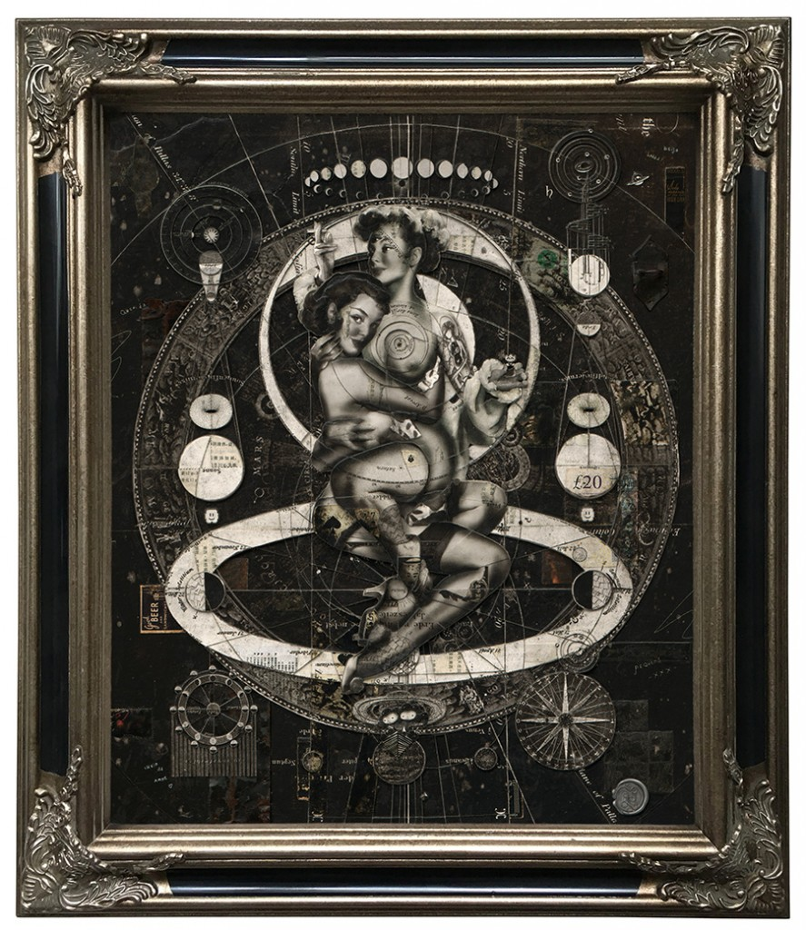 Handiedan -  <strong>Aevitas Noir </strong> (2017<strong style = 'color:#635a27'></strong>)<bR /> digital and hand cut collage, paper layers and found material, pen, matte varnish on dibond panel in ornamental frame, 23.5 inches x 19.75 inches, (framed: 29.5 x 25.5 inches) $12,222