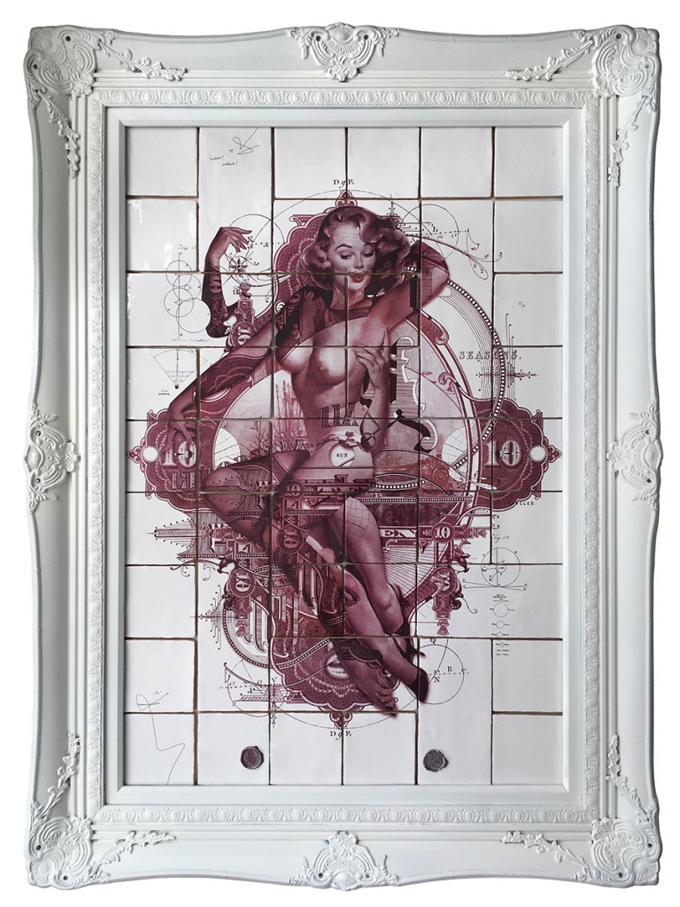 Handiedan -  <strong>Arcturus in Red (edition 1/1)</strong> (2017<strong style = 'color:#635a27'></strong>)<bR /> burned/baked print on 43 ceramic tiles in ornamental frame, 35.5 x 23.5 inches, (framed: 44 x 32 inches)