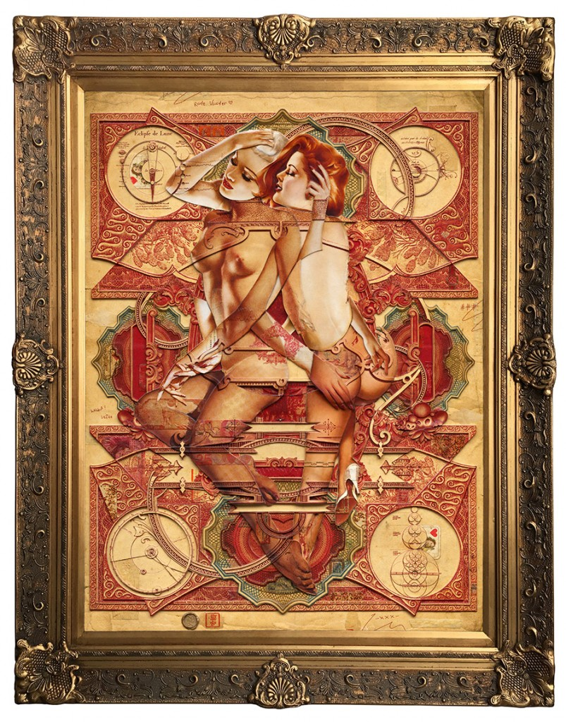 Handiedan -  <strong>Rode Vlinder</strong> (2017<strong style = 'color:#635a27'></strong>)<bR /> digital and hand cut collage, paper layers and found material, pen, matte varnish on wooden panel in ornamental frame, 39.25 x 27.5 inches, (framed: 48 x 38 inches)