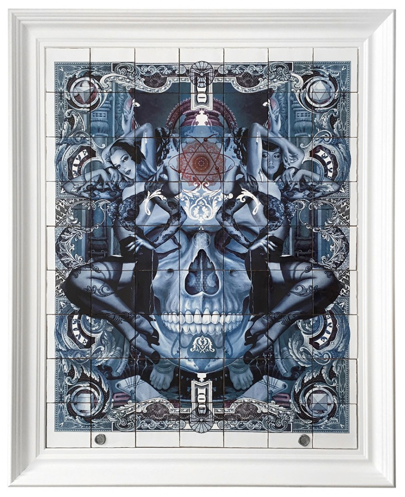 Handiedan -  <strong>Zwarte Vlinder in Blauw (edition 1/1)</strong> (2017<strong style = 'color:#635a27'></strong>)<bR /> burned/baked print on 63 ceramic tiles in ornamental frame, 46 x 25.75 inches, (framed: 55 x 45.25 inches)