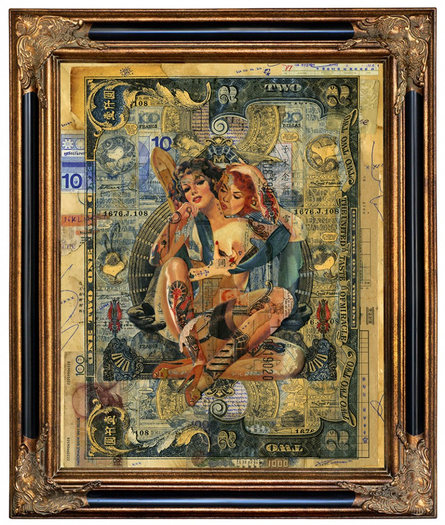 Handiendan -  <strong>United Taste of Miracle</strong> (2011<strong style = 'color:#635a27'></strong>)<bR /> digital and hand cut collage, paper layers and found material, pen, matte varnish on canvas board in ornamental frame, 19.75 x 15.75 inches, (framed: 25.25 x 21.5 inches)