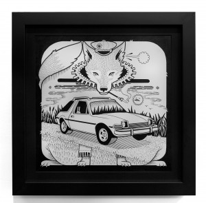 Jeremy Fish -  <strong>AMC Fox Pacer</strong> (2017<strong style = 'color:#635a27'></strong>)<bR /> ink on paper 11 x 11 inches (28 x 28 cm) $1,100