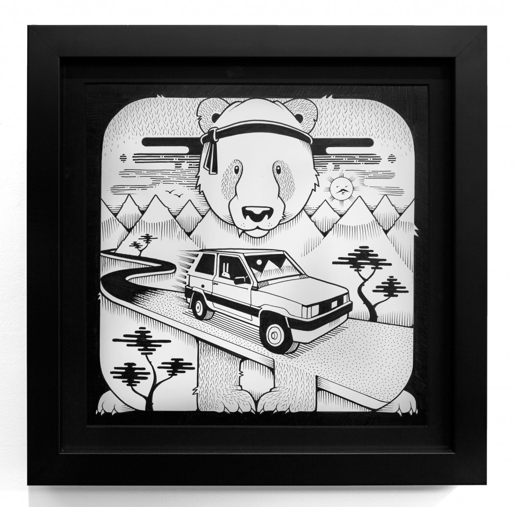 Jeremy Fish -  <strong>Miranda Fiat Panda</strong> (2017<strong style = 'color:#635a27'></strong>)<bR /> ink on paper 11 x 11 inches (28 x 28 cm) $1,100