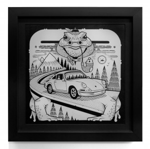 Jeremy Fish -  <strong>Neunelfer Mountain Toad</strong> (2017<strong style = 'color:#635a27'></strong>)<bR /> ink on paper 11 x 11 inches (28 x 28 cm)