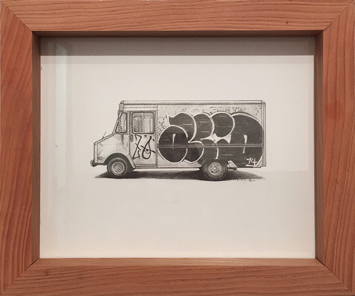 Kevin Cyr -  <strong>Acid Grumman (Framed Image)</strong> (2017<strong style = 'color:#635a27'></strong>)<bR /> graphite on paper, 8 x 10 inches, (framed: 9.25 x 11.25 inches), Sold