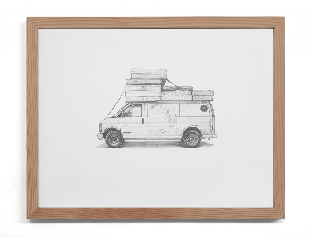 Kevin Cyr -  <strong>Bed Bug Van</strong> (2017<strong style = 'color:#635a27'></strong>)<bR /> graphite on paper,