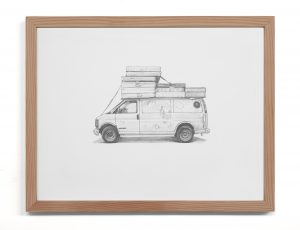 Kevin Cyr -  <strong>Bed Bug Van</strong> (2017<strong style = 'color:#635a27'></strong>)<bR /> graphite on paper, 17 x 22 inches, (framed: 18.25 x 23.25 inches), $1,700