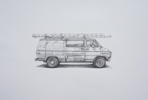 Kevin Cyr -  <strong>GE CO</strong> (2017<strong style = 'color:#635a27'></strong>)<bR /> graphite on paper, 16 x 20 inches, (framed: 13.25 x 21.25 inches), $1,600