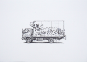Kevin Cyr -  <strong>Harrison</strong> (2017<strong style = 'color:#635a27'></strong>)<bR /> graphite on paper, 10 x 14 inches, (framed: 11.25 x 15.25 inches), $1,000