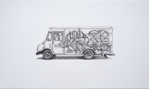 Kevin Cyr -  <strong>Hope</strong> (2017<strong style = 'color:#635a27'></strong>)<bR /> graphite on paper, 12 x 20 inches, (framed: 13.25 x 21.25 inches), $1,400