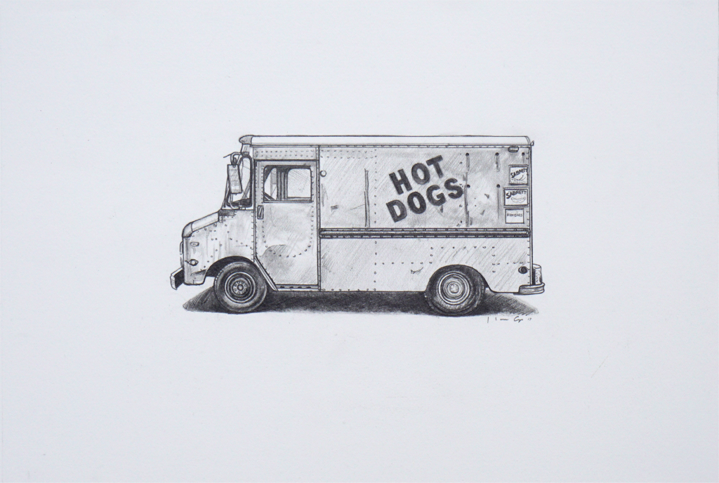 Kevin Cyr -  <strong>Hot Dogs</strong> (2017<strong style = 'color:#635a27'></strong>)<bR /> graphite on paper, 8 x 12 inches, (framed: 9.25 x 13.25 inches), $700